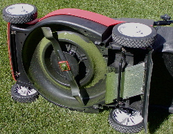 Mulching mower underside