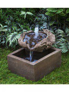 A popular garden fountain made of driftwood