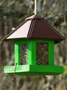 A hopper type bird feeder filled with striped sunflower seeds.