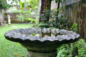 A birdbath in a garden
